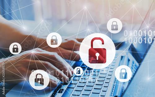 Obraz na płótnie hacker attack and data breach, information leak concept, futuristic cyber  backg