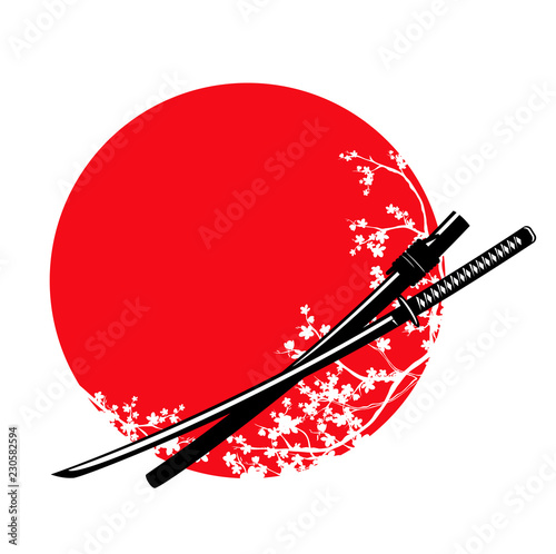 Photo traditional samurai sword and blooming sakura branches - katana and japanese red