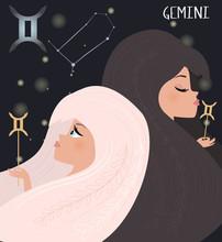 Illustration Of Gemini Zodiac Signs Character. Editable Vector Illustration