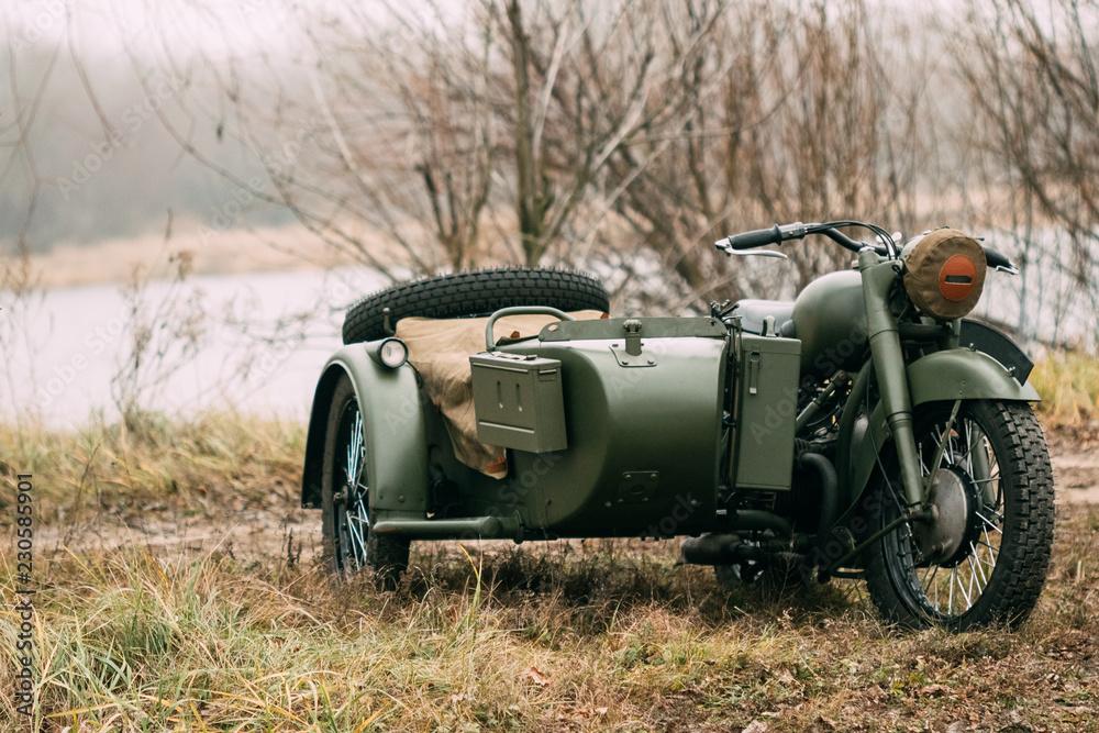 Fototapeta Military motorcycle of the Soviet army