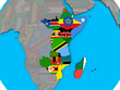 East Africa with embedded national flags on blue political 3D globe.