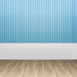 3d illustration interior rendering of turquoise striped wallpaper and wooden floor