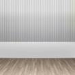 3d illustration interior rendering of grey striped wallpaper and wooden floor