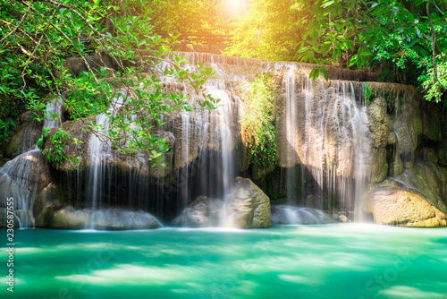 Recess Fitting Waterfalls Erawan waterfall at tropical forest of national park, Thailand