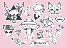 Hand Drawn Trendy Stickers. Black And White Vector Set. Pink Background. All Elements Are Isolated