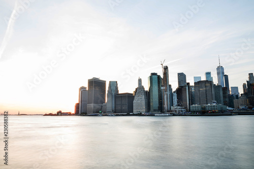 Sticker - View of the city of New York and the bay. New York.  Minimalism. Long light exposure.