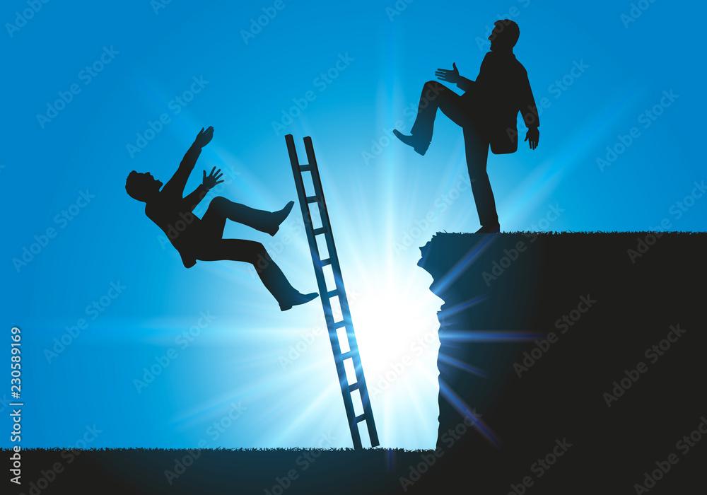 Fototapeta Concept sur le conflit en entreprise pour le leadership, un homme fait volontairement tomber son concurrent d'une échelle.