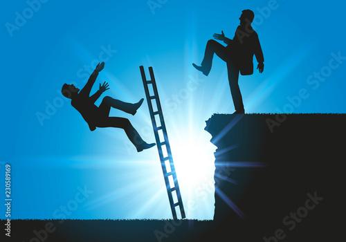 Concept sur le conflit en entreprise pour le leadership, un homme fait volontairement tomber son concurrent d'une échelle Tableau sur Toile