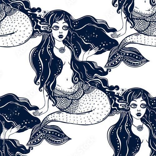 Photographie  Ocean mermaid girl long hair seamless pattern.