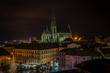 Scenic view on chrismas Brno center Zelny trh and cathedral of Saint Peter