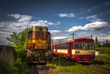 Old Diesel Locomotive  In Trai...