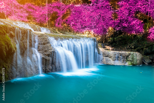 Foto op Canvas Watervallen Amazing in nature, wonderful waterfall at autumn forest in fall season.