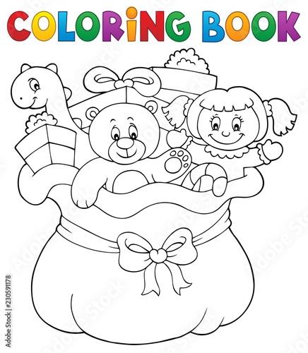 Coloring book Christmas bag topic 1