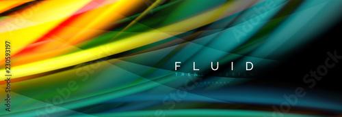 Spoed Foto op Canvas Wanddecoratie met eigen foto Wave fluid flowing colors motion effect, holographic abstract background. Vector illustration