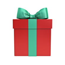Red Gift Box Or Christmas Present Box With Green  Ribbon And Bow Isolated On White Background 3D Rendering