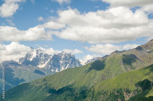 Recess Fitting Panorama Photos Beautiful view of peak Ushba from village Zhabeshi , Georgia