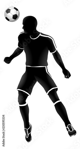 Photo  A soccer football player heading a ball silhouette sports illustration