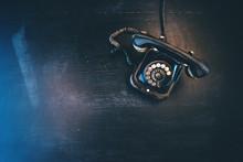 Black Vintage Landline Telephone