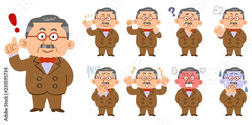 Fototapeta 蝶ネクタイとスーツを身に着けた富裕層の男性 9種類のポーズと表情のセット