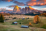 Fototapeta Landscape - Dolomites. Landscape image of Seiser Alm a Dolomite plateau and the largest high-altitude Alpine meadow in Europe.