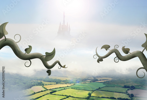 beanstalks in clouds leading to giant castle above countryside Fototapeta