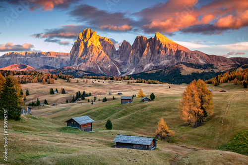 Poster Europa Dolomites. Landscape image of Seiser Alm a Dolomite plateau and the largest high-altitude Alpine meadow in Europe.