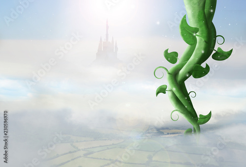 Fotografía  giant magic beanstalk rising through clouds with castle in background