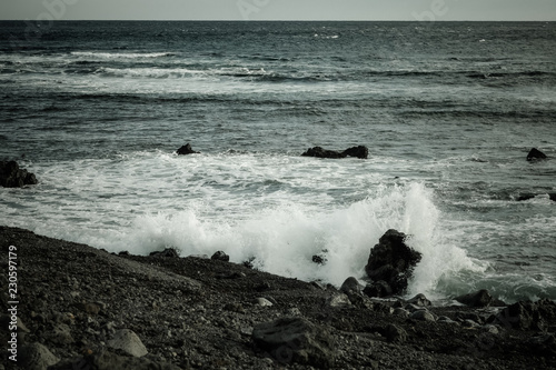 Stormy sea landscape in the Iceland. Toned