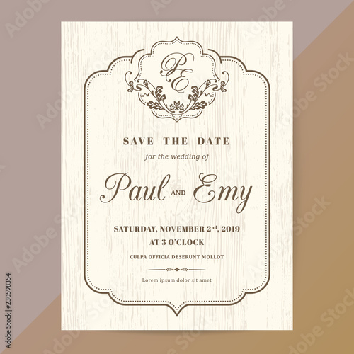 Fototapeta Classic Vintage Wedding Invitation Card