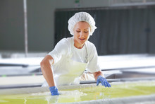 Female Worker On White Feta Cheese Production Line In An Industrial Factory