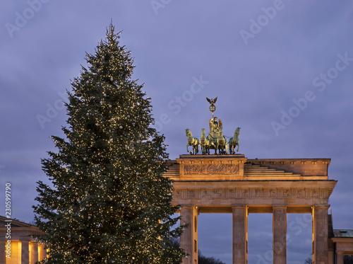 Photo  Holiday decorations of Pariser platz in Berlin. Germany