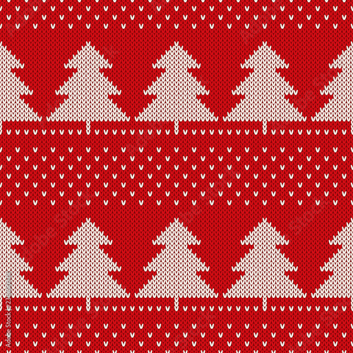 1d1b9c813768 Christmas Knitted Pattern with Christmas Trees. Wool Knitting Seamless  Sweater Design