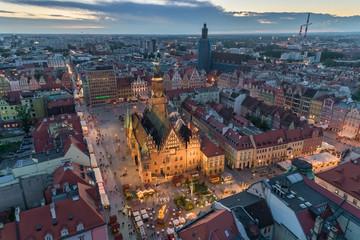 FototapetaWrocław main square evening panorama aerial view