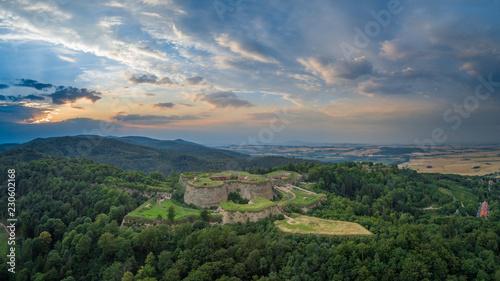 Srebrna Góra fortress with beautiful panorama of Sudety mountains aerial view - fototapety na wymiar