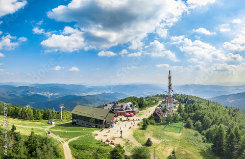 Jaworzyna Krynicka with beautiful panorama of Bieszczady aerial view