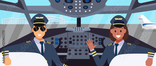 Valokuva Pilots in cockpit flat design. with man and woman pilot character