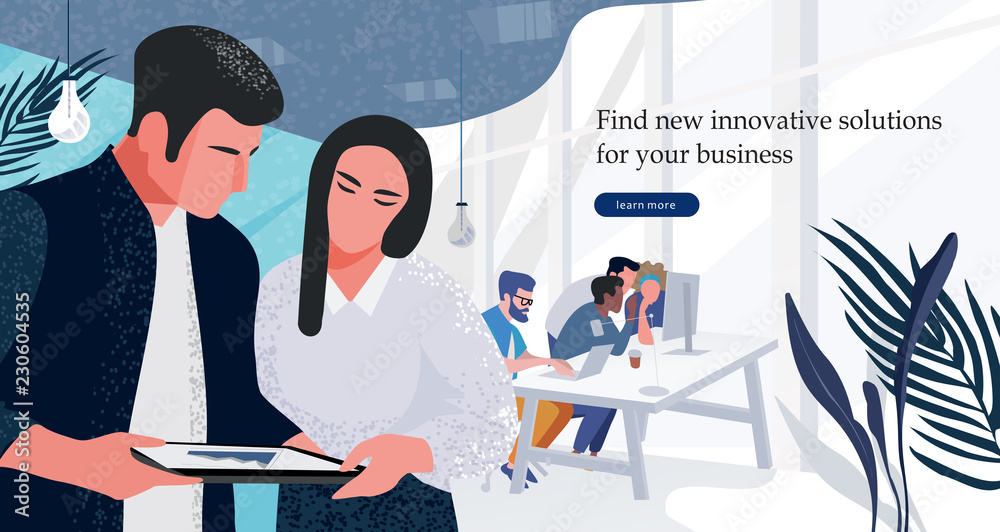 Fototapeta Vector flat illustration of workflow in the office, a group of businessmen working at the computer, and another part of marketers discussing marketing solutions and business plans.