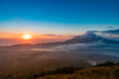 Beautiful landscape view during sunrise from volcano Batur in Bali indonesia