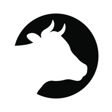 Cow Head Graphic Icon. Cattle Symbol. Logo. Cow Head White Silhouette In The Black Circle Isolated On White Background. Vector Illustration