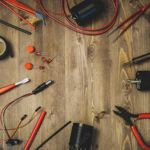 Foto op Aluminium Workplace With Tools: Breadboard, Push Button, Resistors, Tweezers, Nippers, Soldering Iron, Wires, Microcircuit, Lamp Socket. Electronics Repair Service. Concept of Electronics, Programming.