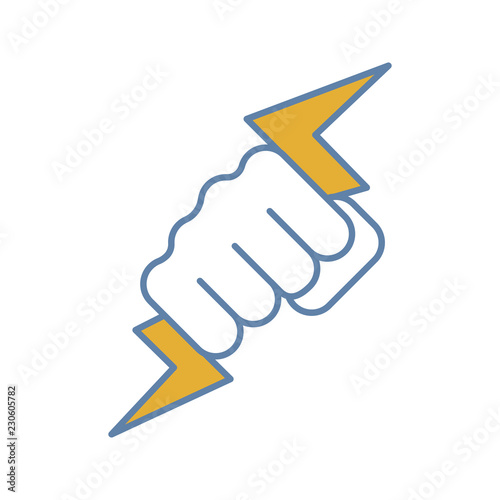Foto Hand holding lightning bolt color icon