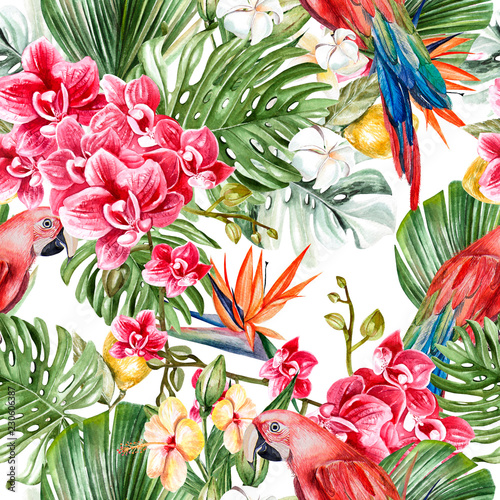 Cotton fabric Beautiful watercolor tropical pattern with leaves, flowers,fruits and parrots.