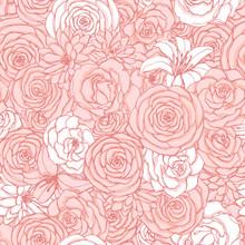 Vector Seamless Pattern With Rose, Lily, Peony And Chrysanthemum Flowers Of Pink And White Colors. Hand Drawn Floral Repeat Background Of Blossoms In Sketch Style. For Covers, Wrapping Paper, Etc.