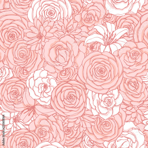 Foto Vector seamless pattern with rose, lily, peony and chrysanthemum flowers of pink and white colors