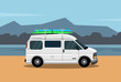Travelling van with surf board in the beach flat illustration