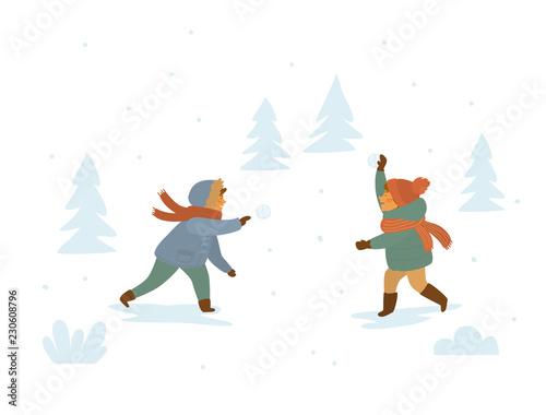 Fototapeta children playing snowball fights isolated vector illustration winter scene