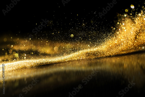 Fototapeta glitter lights grunge background, gold glitter defocused abstract Twinkly Lights Background. obraz