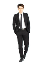 Full Body Of Young Handsome Business Man