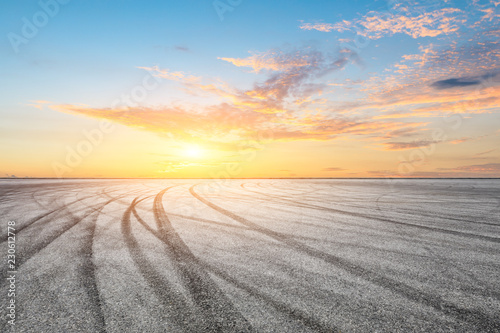 Foto op Plexiglas F1 Car track square and sky beautiful cloud scenery at sunset