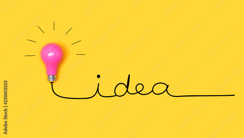 Fototapety, obrazy: Idea hand writing text with a light bulb